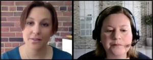Split screen of two women each in home offices